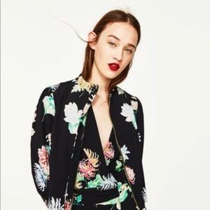 Zara Black CroppedBomber Jacket with Floral Print